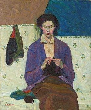 Grace Cossington Smith, Γυναίκα που πλέκει κάλτσες (1915)
