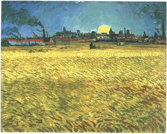 Sunset--Wheat-Fields-Near-Arles